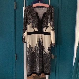 NY and Co Ivory and Black Lace print Dress